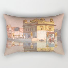Golden Temple of Amritsar by Yoshida Hiroshi - Japanese Vintage Ukiyo-e Woodblock Painting Rectangular Pillow