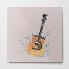 Acoustic Guitar with Vines Illustration  Metal Print