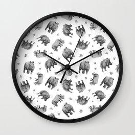 Rhino's Grazing - Black & White Wall Clock