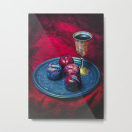 Still Life With Plums And A Goblet Of Wine Resting On A ... Metal Print