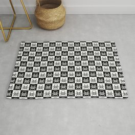 Black and White Skull and Crossbones Check Pattern Rug