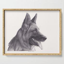 German Shepard Dog - Wildlife Animal Graphite Pencil drawing Artwork Pet Serving Tray