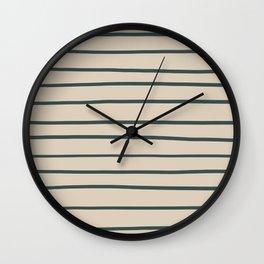 Night Watch PPG1145-7 Hand Drawn Horizontal Stripes on Sourdough Beige Tan PPG1084-3 Wall Clock