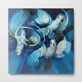 Blue Seagulls seaside coastal portrait painting by Willy Bosschem Metal Print