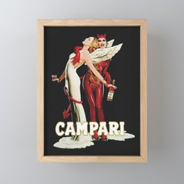 Vintage Campari Italian Bitters Aperitif Angel and Devil Advertisement Poster Framed Mini Art Print