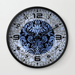 Classic Blue Swirls Damask 11 Wall Clock