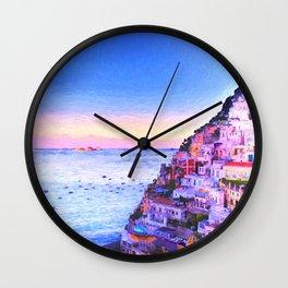 Twilight Over Positano, Italy Wall Clock