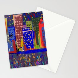 colorful cityscape Stationery Cards