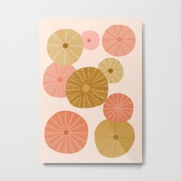 Sea Urchins in Coral + Gold Metal Print