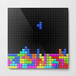 Retro Blocks Video Game Nostalgic Pattern Metal Print