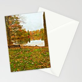 A Dreamer's Pond in Autumn Stationery Cards