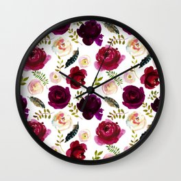 Burgundy Flowers Peony  Wall Clock