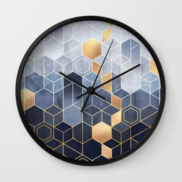 Geometric abstraction of hexagons on a blue relief background with gold elements. Fresco for interior wall mural. Vintage modern home décor. Wall Clock