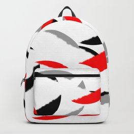 black white red grey abstract minimal pattern Backpack