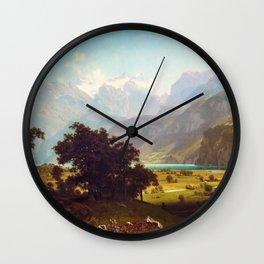 Albert Bierstadt - Lake Lucerne - Digital Remastered Edition Wall Clock