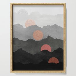 Mountains and the Moon - Black - Silver - Copper - Gold - Rose Gold Serving Tray
