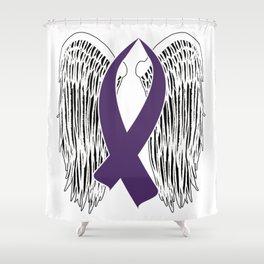 Winged Awareness Ribbon (Purple) Shower Curtain