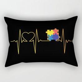 Autism Puzzle Heartbeat Autism Awareness Gift Rectangular Pillow