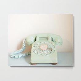 Vintage Mint Phone Metal Print