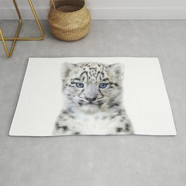 Baby Snow Leopard, Baby Animals Art Print By Synplus Rug