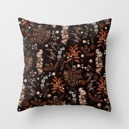 Vintage Autumn Florals on Dark Background Throw Pillow