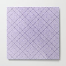 Faux Velvet Diamond Crisscross in Pale Lilac Metal Print