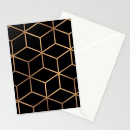 Black and Gold - Geometric Cube Design Stationery Cards