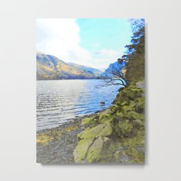 Little Tree at Buttermere, Lake District, England Watercolour Painting Metal Print