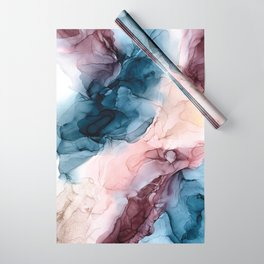 Pastel Plum, Deep Blue, Blush and Gold Abstract Painting Wrapping Paper