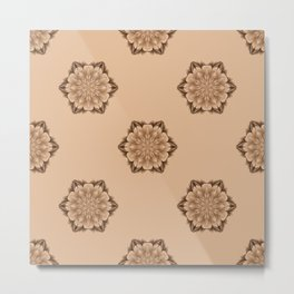 Abstract sepia floral pattern Metal Print
