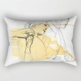 Sir reading to a girl sculpture sketch Rectangular Pillow