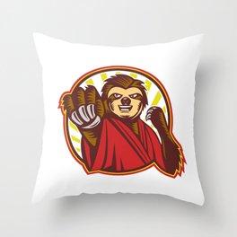 Sloth Fighter Self Defense Circle Mascot Throw Pillow