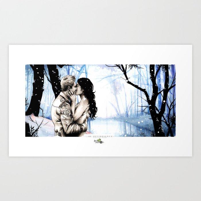 A Winter Nights Kiss Art Print