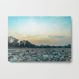 Pebble beach by the Ticino River Metal Print