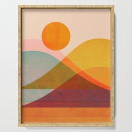 Abstraction_SUNSET_LANDSCAPE_POP_ART_Minimalism_018X Serving Tray