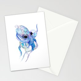 Octopus, sky blue, royal blue sea world underwater scene, beach house art Stationery Cards