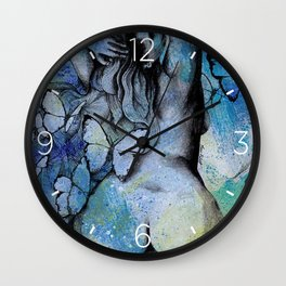 Sugar Coated Sour (nude curvy pin up with butterflies) Wall Clock