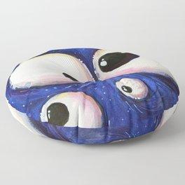 Blue Monster Eyes Floor Pillow