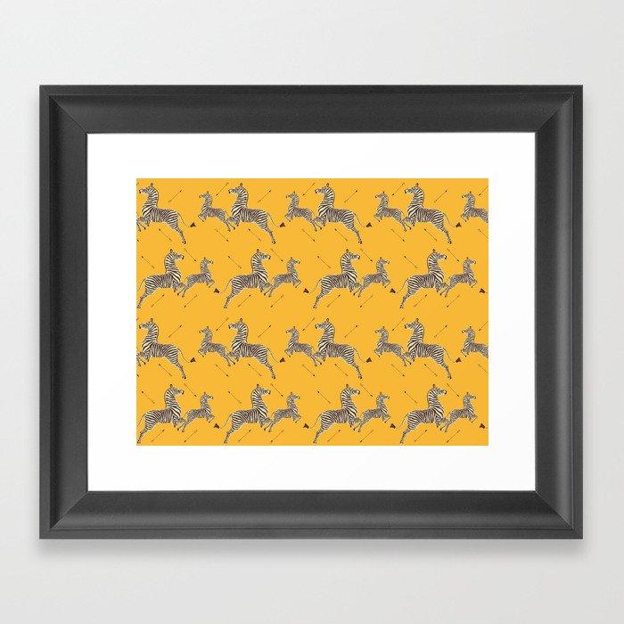 Royal Tenenbaums Zebra Wallpaper - Mustard Yellow Gerahmter Kunstdruck