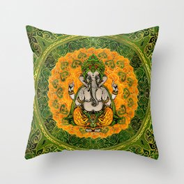 Ganesha in Marigold flowers and gold decoration Throw Pillow