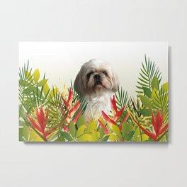 Paul Top Model - shih tzu dog - jungle leaves Metal Print