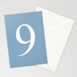 number nine sign on placid blue color background Stationery Cards