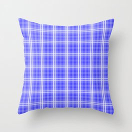 Bright Neon Blue and White Tartan Plaid Check Throw Pillow