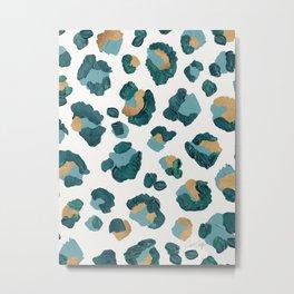 Leopard Print – Teal & Copper Metal Print