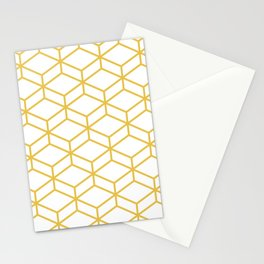 Geometric Honeycomb Lattice in Mustard Yellow and White. Modern Clean Minimalist Stationery Cards