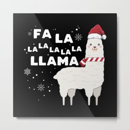 Funny Falala Christmas Llama Metal Print