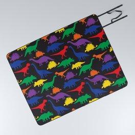Dinosaurs - Black Picnic Blanket