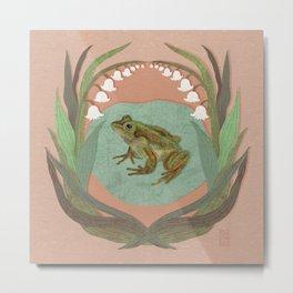 Frog and Lilies Metal Print