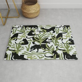 Abstract Wild Cats and Plants / Black and Green Rug