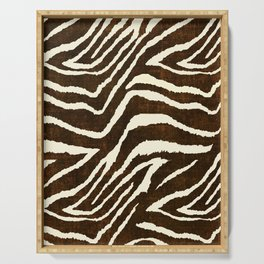 ANIMAL PRINT ZEBRA IN WINTER 2 BROWN AND BEIGE Serving Tray